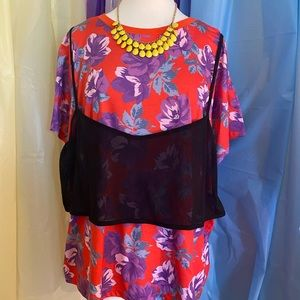 Floral T-shirt w/ Black Overlay